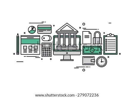 Thin line flat design of online banking services, financial planning document, market research analysis, money investing elements. Modern vector illustration concept, isolated on white background. - stock vector