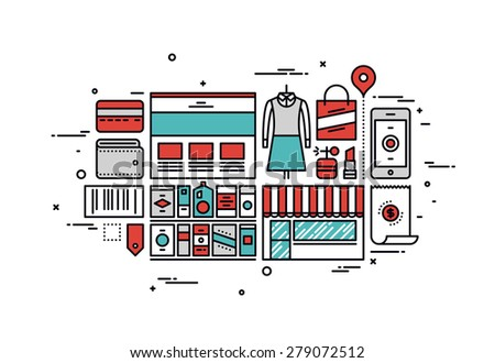 Thin line flat design of online shopping goods, purchasing product via internet, mass market consumerism, e-commerce website service. Modern vector illustration concept, isolated on white background. - stock vector