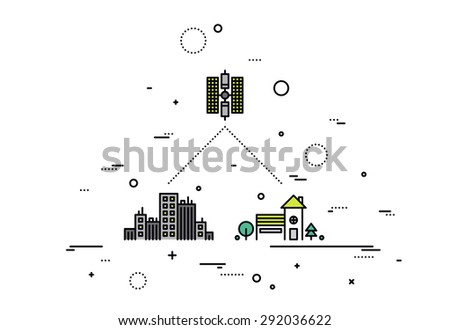 Thin line flat design of satellite global network provider, geostationary communication and transmitting signal with high data speed. Modern vector illustration concept, isolated on white background. - stock vector