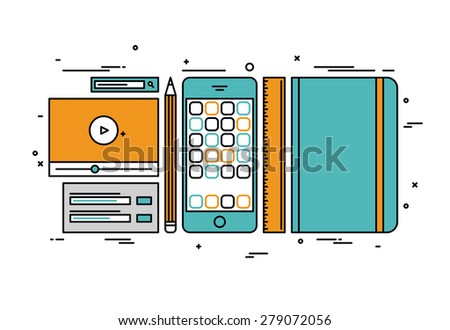 Thin line flat design of smartphone app development, designer and coder sketch tools, prototyping usability interface for mobile phone. Modern vector illustration concept, isolated on white background - stock vector