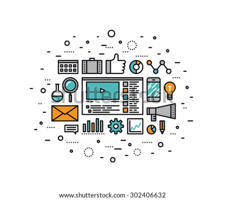 Thin line flat design of social media marketing, online business solution, viral video production and promotion, digital strategy idea. Modern vector illustration concept, isolated on white background - stock vector