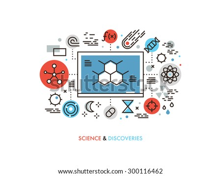Thin line flat design of STEM academic disciplines, science education and knowledge about life evolution, chemistry research discovery. Modern vector illustration concept, isolated on white background - stock vector