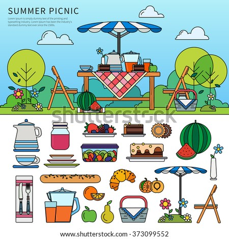 Thin line flat design of summer picnic in garden. Resting in a sunny day. Weekend concept. Icon set of picnic items. Umbrella, chairs, basket with food, fruits, cakes isolated on white background - stock vector