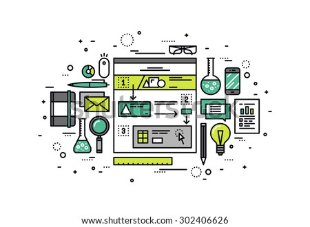 Thin line flat design of user-friendly scenario building, website user experience research, web story sketching for structure usability. Modern vector illustration concept isolated on white background - stock vector
