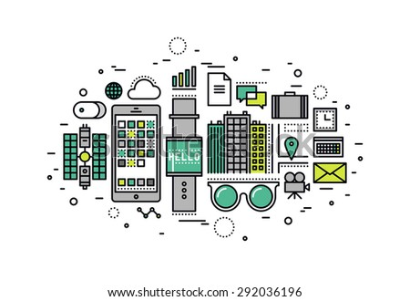Thin line flat design of wearable technology devices, futuristic smart gadget for people, internet of things digital tech innovation. Modern vector illustration concept, isolated on white background. - stock vector