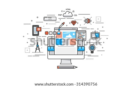 Thin line flat design of website building process. Modern vector illustration concept, isolated on white background. - stock vector