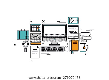 Thin line flat design of website programming process, web coder workplace tools and equipment, software developer desk items. Modern vector illustration concept, isolated on white background. - stock vector