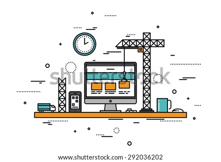 Thin line flat design of website under construction, web page building process, site form layout and menu buttons interface develop. Modern vector illustration concept, isolated on white background. - stock vector