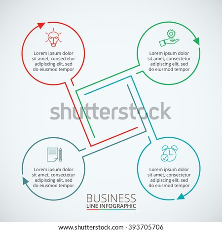 Thin line flat element for infographic. Template for diagram, graph, presentation and chart. Business concept with 4 options, parts, steps or processes. Data visualization. - stock vector
