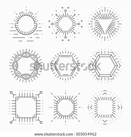 Thin line hipster frames for emblems and badges. Element or sign retro vintage label, logo template, symbol laconic design, vector illustration - stock vector