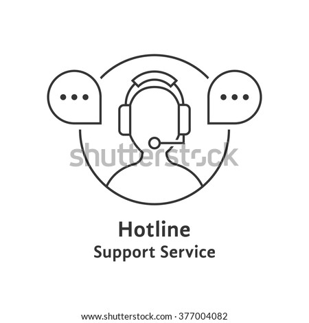 thin line hotline icon. concept of ask, ui, tech, callback, crm, faq, feedback, e-commerce, man work. isolated on white background. flat style trend modern brand logotype design vector illustration - stock vector