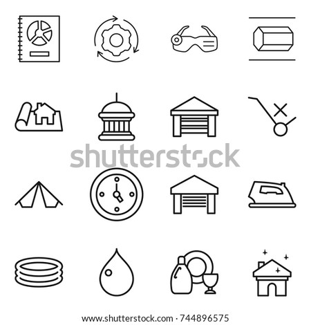thin line icon set  annual report around gear smart glasses nano tube  sc 1 st  Shutterstock : tent house project report - memphite.com