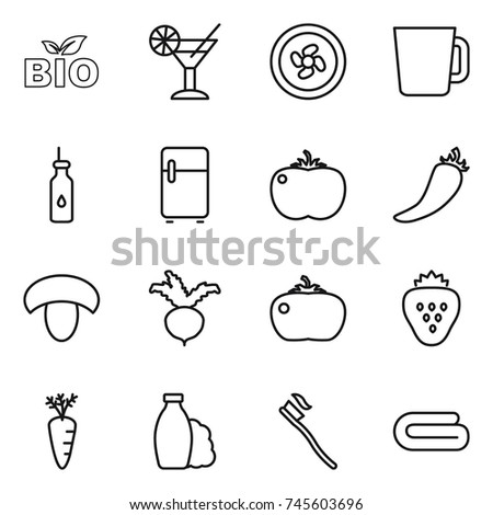 thin line icon set : bio, cocktail, cooler fan, cup, vegetable oil, fridge, tomato, hot pepper, mushroom, beet, strawberry, carrot, shampoo, tooth brush, towel