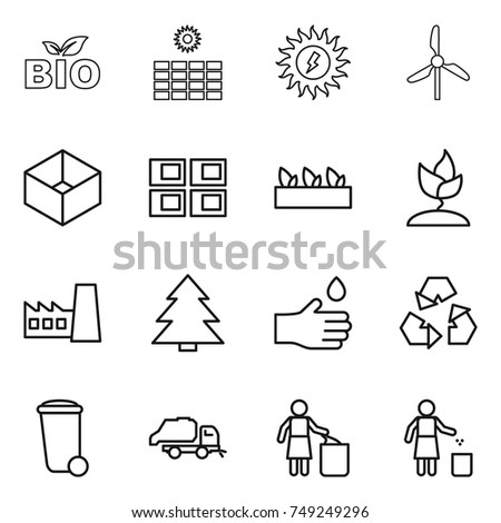 thin line icon set : bio, sun power, windmill, box, panel house, seedling, sprouting, factory, spruce, hand drop, recycling, trash bin, truck, garbage