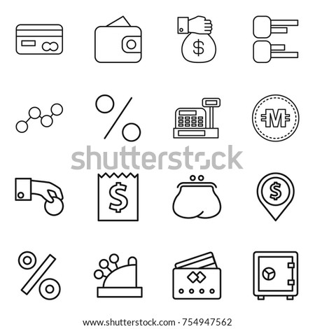 thin line icon set : card, wallet, money gift, diagram, graph, percent, cashbox, crypto currency, hand coin, receipt, purse, dollar pin, credit, safe
