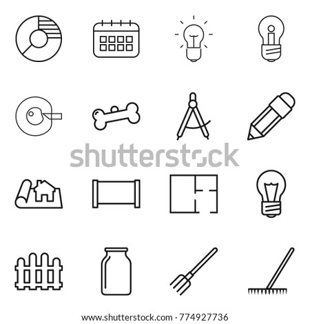 recycling line icons waste sorting set stock vector