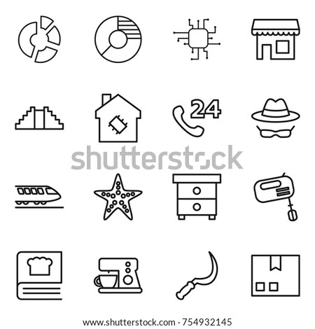 Thin line icon set circle diagram stock vector 754932145 shutterstock thin line icon set circle diagram chip shop pyramid smart house ccuart Images