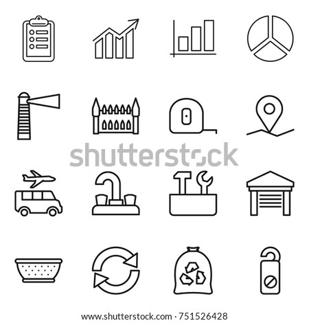 Thin Line Icon Set Clipboard Diagram Graph Lighthouse Gothic Architecture