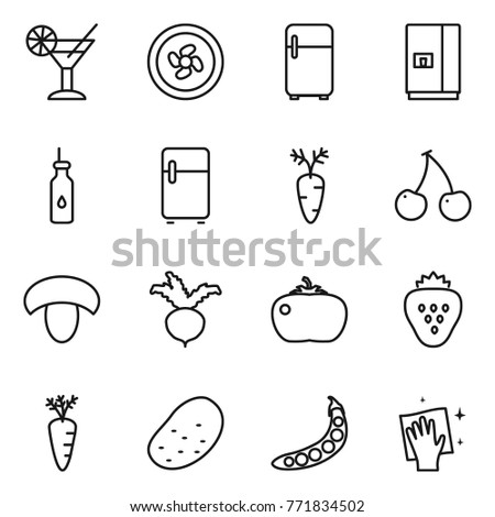 Thin line icon set : cocktail, cooler fan, fridge, vegetable oil, carrot, cherry, mushroom, beet, tomato, strawberry, potato, peas, wiping