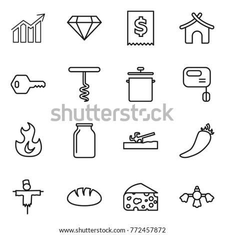 Thin Line Icon Set Diagram Diamond Stock Vector 772457872 Shutterstock