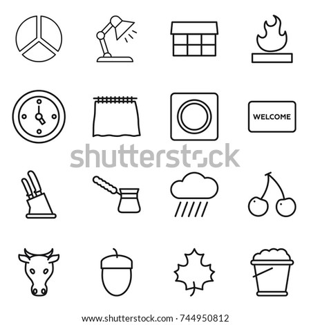 Thin line icon set diagram table stock vector 744950812 shutterstock thin line icon set diagram table lamp market flammable watch ccuart Choice Image