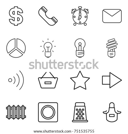 Thin Line Icon Set Dollar Phone Stock Vector 751535755