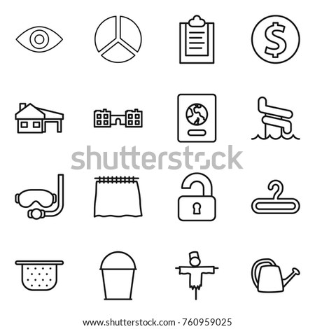 Thin line icon set eye diagram stock vector 760959025 shutterstock thin line icon set eye diagram clipboard dollar coin house with ccuart Image collections