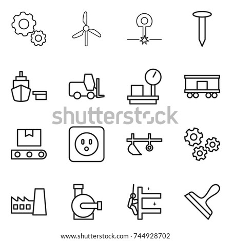 Thin Line Icon Set Gear Windmill Stock Vector 763438657 Shutterstock
