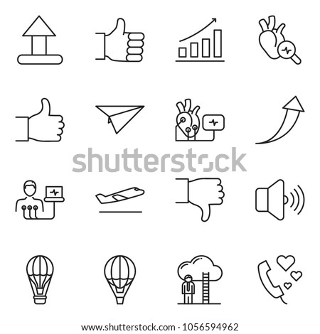 Thin line icon set growth chart stock vector hd royalty free thin line icon set growth chart vector arrow finger up career ladder thecheapjerseys Gallery