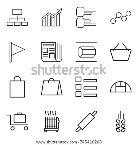 Thin Line Icon Set Hierarchy Diagram Stock Photo Photo Vector