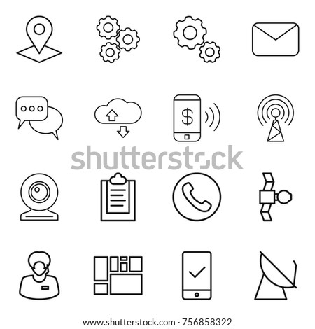 Thin line icon set : pointer, gear, mail, discussion, cloude service, phone pay, antenna, web cam, clipboard, satellite, support manager, consolidated cargo, mobile checking