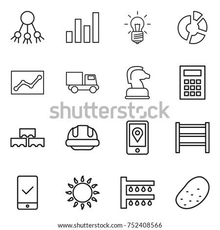 stock vector thin line icon set share graph bulb circle diagram statistics truck chess horse calculator 752408566 truck diagram stock images, royalty free images & vectors truck diagram at bayanpartner.co