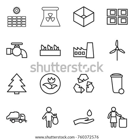 Thin line icon set : sun power, nuclear, box, panel house, water tap, seedling, factory, windmill, spruce, ecology, recycling, trash bin, truck, hand and drop, garbage