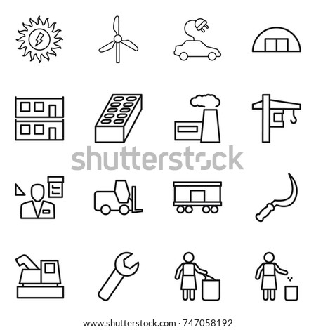 thin line icon set : sun power, windmill, electric car, hangare, modular house, brick, factory, tower crane, architector, fork loader, railroad shipping, sickle, harvester, wrench, garbage bin