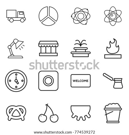 Thin line icon set truck diagram stock vector 2018 774539272 thin line icon set truck diagram atom table lamp market ccuart Choice Image