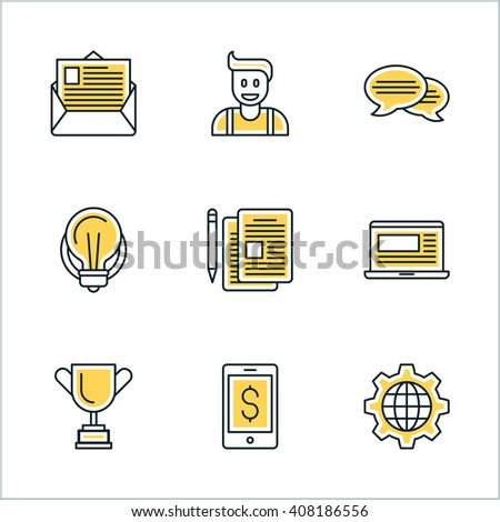 Thin Line Icon Set. Vector Icons for Website, Mobile Application, Infographics. Business Icon Set - stock vector