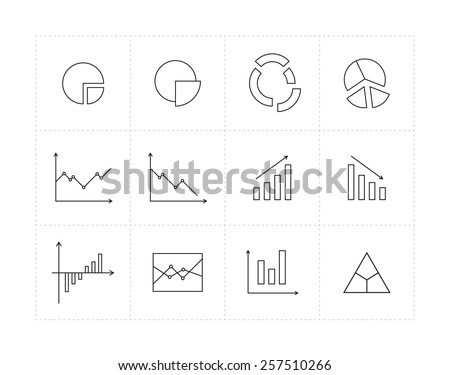 Thin line icon set with different diagrams - stock vector