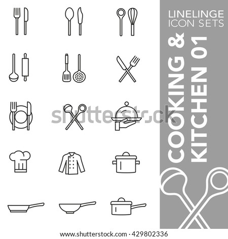 Thin line icon sets Cooking and Kitchen  - stock vector