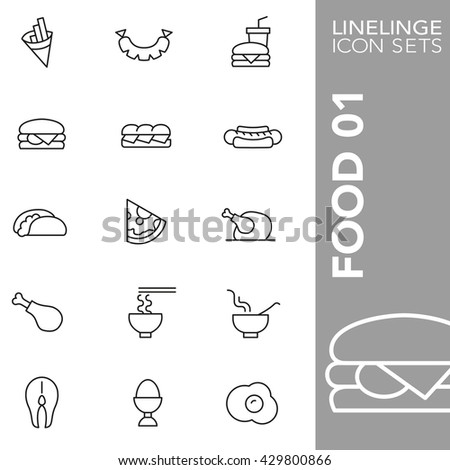 Thin line icon sets Food - stock vector