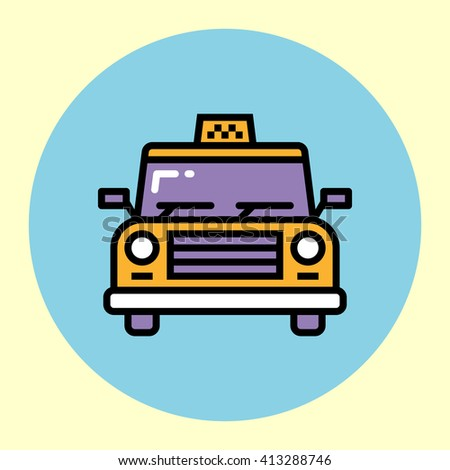 Thin Line Icon. Taxi Car. Simple Trendy Modern Style Round Color Vector Illustration. - stock vector