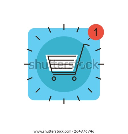 Thin line icon with flat design element of app store market, internet shopping cart, retail sales, web checkout for payment, new application purchase now. Modern style logo vector illustration concept - stock vector