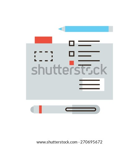 Thin line icon with flat design element of business documents management, secretary occupation, work file and folder accounting, office accessories. Modern style logo vector illustration concept. - stock vector