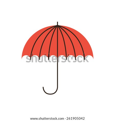 Thin line icon with flat design element of business stability, protection of problems, weather conditions, financial insurance, safety of the company. Modern style logo vector illustration concept. - stock vector