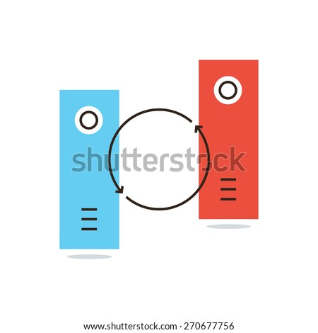 Thin line icon with flat design element of data synchronization, update contents of computer file, sync servers, shared folder, web transfer info. Modern style logo vector illustration concept. - stock vector