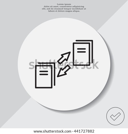 Thin line icon with flat design element of data synchronization, update contents of computer file, sync servers, shared folder, web transfer info. Modern style logo vector illustration concept