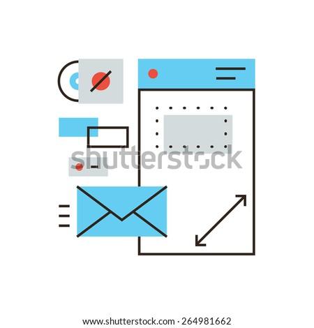 Thin line icon with flat design element of design brandbook, branding identity, company brand, corporate document, business identification. Modern style logo vector illustration concept. - stock vector