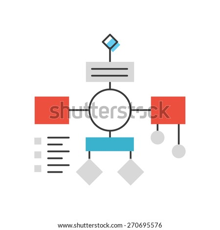 Thin line icon with flat design element of flowchart plan and organization, workflow mindmap, abstract project analysis, PDCA process algorithm. Modern style logo vector illustration concept. - stock vector