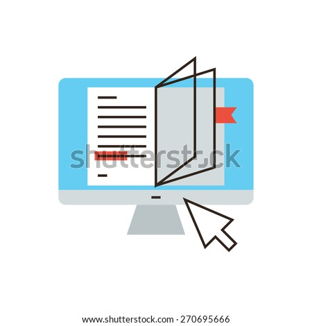 Thin line icon with flat design element of internet studying, online book, reading tutorial, distance learning, read text, remote education. Modern style logo vector illustration concept. - stock vector