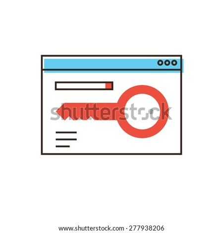 Thin line icon with flat design element of keyword trend analysis, internet content search, search engine optimization, ranking resource. Modern style logo vector illustration concept. - stock vector