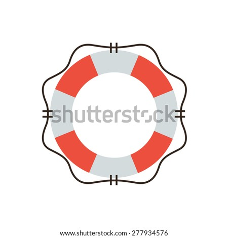 Thin line icon with flat design element of lifebuoy preserver, life support and help service, lifeguard emergency aid, lifesaver security. Modern style logo vector illustration concept. - stock vector